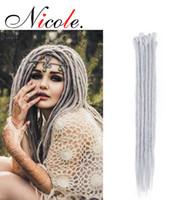 Nicole 20 Zoll Synthetische Flechten Haar Handgemachte Dreadlocks Haarverlängerungen Rosa / Blau Ombre Farbe 5 Stränge / Pack Kostenloser Versand