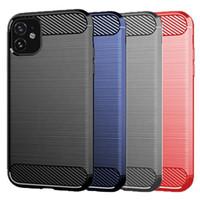 In fibra di carbonio spazzolato cassa del telefono per l'iphone 11 pro max TPU Slim morbida antiscivolo per iPhone 11 11Pro XS MAX XR XS X 6 7 8