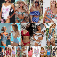 2019 Yeni stiller Tek Parça Mayo bikini seksi iki adet Üçgen bikini Mayo lady seksi Çiçek Ruffles Sıcak Mayo Yastıklı sutyen Bikini