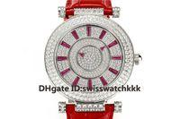 GS 2019 Yeni kadın tasarımcı saatler FM.800 Otomatik Safir Tam Elmas Çelik Kasa dana derisi kayış şeffaf kılıf geri Bayanlar saatler