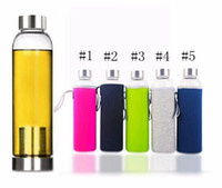 22 oz cam spor su şişesi BPAFree yüksek sıcaklığa dayanıklı çay süzgeci şişe yaratıcı araba cam bardak 5 renkler XHCFYZ3