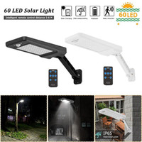 60 Luz solar LED Sensor de movimiento PIR IP65 Lámpara de pared regulable para jardín al aire libre Lámpara solar Controlador remoto Manual
