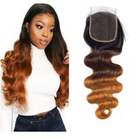 Ombre Human Hair Closure Body Wave Brazilian Peruvian Virgin...