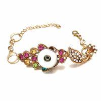 Мода Павлин взаимозаменяемые 148 металл BraceletBangle Fit 18 мм Оснастки кнопки Серебряный имбирь браслет для женщин подарок