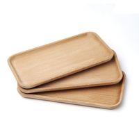 Plaque de hêtre carrée Plat-de-vaisselle Plaque Sushi Dishi Fruits Plateau Tea Tea Teher Plateau Temps de cuillère en bois Pad de cuisson de cuisson VT1579