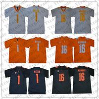 NCAA Tennessee Volunteers Jersey Herren 1 Jason Witten 16 Peyton Manning Genähte College Football Trikots Orange Weiß Grau Beste Qualität