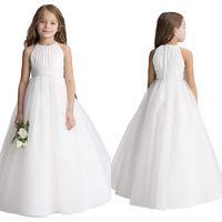 シンプルな結婚式の花の女の子のドレスPuffy Tutu 2020幼児の小さな女の子Pageantの聖体拝領のドレス青いピンクホワイト