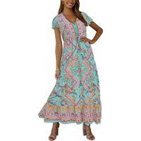 새로운 패션 여성 여성 맥시 보헤미안 드레스 꽃 여름 짧은 소매 비치 캐주얼 긴 느슨한 sundress에