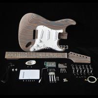 Zebrawood 몸 얼룩말 나무 넥과 핑거 (22) 무서워 S S S 픽업 빌더 키트와 DIY 일렉트릭 기타 키트