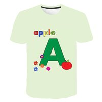 New young printed short sleeve, letter A series clothing. Children's clothing 3D cartoon T-shirt round neck fashion parent-child clothing