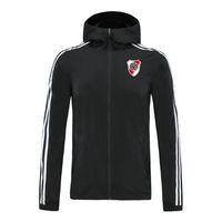 2020 river plate calcio giacca con cappuccio con cerniera a vento mens calcio giacca a vento superiore della chiusura lampo del hoodie Sportswear Giacche corsa