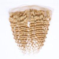 موجة عميقة # 27 العسل شقراء الأذن إلى الأذن 13x4 الرباط أمامي إغلاق البرازيلي بني فاتح الشعر البشري يشبع أمامي مع شعر الطفل