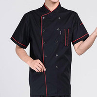 Homens de manga curta gola trespassado Chef Garçom Uniforme solta 2020 Pano New Fashion