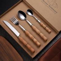 Деревянной ручкой Посуда Установить нож и вилка ложка Посуда Наборы из нержавеющей стали Свадебный подарок благосклонности Steak Knife ZZA1219 60PCS