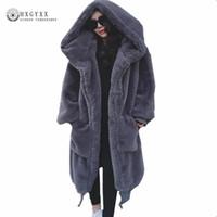 2018 Winter-Frauen-Mantel Teddy Jacke aus Kunstpelz Oberbekleidung Haar dick lange Plüsch-Mantel plus Größe lose Ponchos Umhänge OKD600