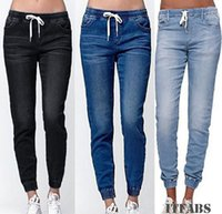 Mulheres cintura alta rasgado elásticos Skinny Jeans Pencil Denim Pants Senhora Jeggings Calças