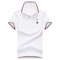 Camisa de los hombres del algodón sólido Slim Fit de manga corta de algodón del remiendo camisa de los hombres de moda Streetwear Hombre Polos