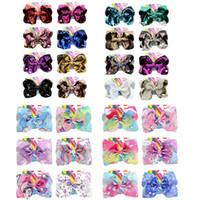 Бесплатные DHL Unicorn Sequins Jojo Siwa Baby Girl Дети 8 дюймов Большая Радуга Подпись Подпись Волос с Картой Аксессуары для волос Мода Зажимы
