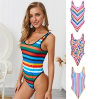 Summer Plaid One Piece Womens Swimwear Sexy Fashion Striped ...