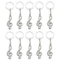 10 قطعة موسيقية سلسلة ملاحظة مفتاح معدن موسيقى الرمز G -Clef مفتاح الطوق حامل المفاتيح حلية موضة اكسسوارات السيارات كيرينغ