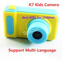 지원 다국어 K7 키즈 카메라 미니 디지털 키즈 카메라 귀여운 만화 아이 장난감 어린이 생일 선물 소매 패키지