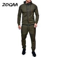 ZOGAA 2 Stücke Sets Trainingsanzug Männer Neue Marke Herbst Winter mit Kapuze Sweatshirt + Kordelzug Hosen männlichen Streifen Reine Farbe Hoodies
