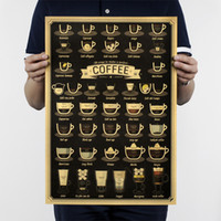 Coffee Cup Bars Kitchen Drawing Kraft Paper Bar Poster Adorn...