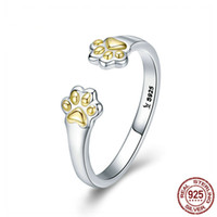 New Arrival 925 Sterling Silver Footprint Paw Dog Lovely Rin...