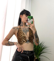 Gothic Punk Sexy scollo a V Halter Off spalla Backless Tie Bow Bustier Buckle Hollow Bralette Bandage Crop Top Short Cropped Party
