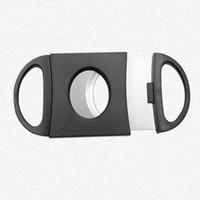 도매 휴대용 블랙 도금 더블 블레이드 시가 샤프 커터 9 * 4cm 미니 포켓 가제 스테인레스 스틸 시가 나이프 DH0578 T03