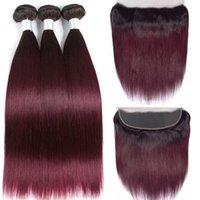 Buona qualità Ombre Color #t 1b / 99J Dritto I capelli umani Straight Human Weaves 3 Bundles con chiusura frontale in pizzo 13x4