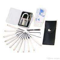 Şeffaf uygulama 7 pin kilit asma kilit + 12pcs / set Kilit seçer Araçlar çilingir + 5 adet kredi kartı maymuncuk seti