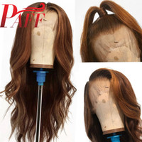 PAFF Peluca larga 360 Peluca frontal de encaje Color marrón Frente de encaje Frente Pelucas de cabello humano con cabello bebé Remy brasileño para mujeres