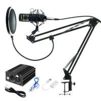 Set microfono Professional completa BM800 condensatore KTV Microfono Pro Audio Studio Vocal Recording Mic + Metal Shock Mount