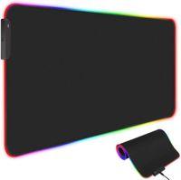 RGB 게임 마우스 매트 패드, 10 개의 RGB 조명 모드, 미끄럼 방지 고무베이스 컴퓨터 키보드 패드 (800 * 300 * 4mm)가있는 확장 LED 마우스 패드