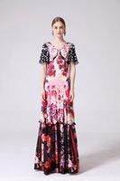 2019 여성의 활주로 드레스 V 넥 짧은 플레어 슬리브 꽃 프린트 프릴이 우아한 롱 캐주얼 디자이너 드레스