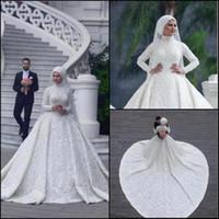 Vintage arabo musulmano abiti da sposa in pizzo appliques collo alto maniche lunghe sweep treno abiti da sposa abiti da sposa BC0393