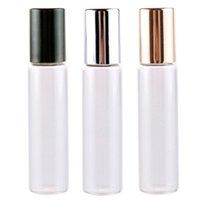 Großhandels100pcs 10ml 1 3 Unzen ROLL ON GLASS BOTTLE Klar Fragrances ESSENTIAL OIL Parfümflasche mit Metall-Rollen-Kugel LX1686