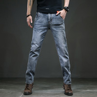 Hommes Jeans 2020 Slim Straight Business Casual Gris Smoky Elasticité Coton denim PANTALON Pantalon