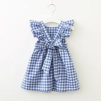 جديد الصيف اللباس ل طفلة منقوشة عارية الذراعين كشكش كم طويل bowknot الصليب القطن الوردي الأزرق فتاة هدية بوتيك