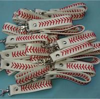 Bracelete de beisebol chaveiro pulseiras de softball de couro chaveiro chaveiro keyring mens mulheres esportes esportes socos bola jóias gga2466