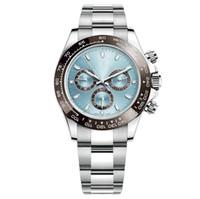 2019 رجل الساعات الياقوت زجاج الفولاذ المقاوم للصدأ الحركة التلقائية الميكانيكية السماء الزرقاء الطلب الصلبة المشبك جنيف orologio دي LUSSO