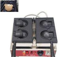 2 ADET Ayı-Şekil Elektrikli Büyük Açık Ağız Dondurma Ayı Waffle Maker Taiyaki Baker Makinesi
