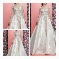 Elegante Ballkleid Brautkleider 3D-Floral Appliques Brautkleid DetachableTrail Brautkleid Sheer Neck Brautkleid robe de mariée