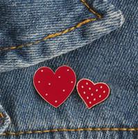 Neue 2019 Cartoon Rot Große Kleine Herz Emaille Pins Nette Frauen Brosche Denim Jacken Anstecknadel Dekoration Abzeichen Modeschmuck Geschenk T352