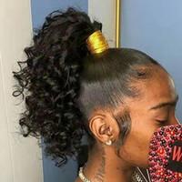 변태 곱슬 포니 테일 인간의 머리카락 레미 브라질 랩 Drawstring Ponytail 1 조각 120g 클립 헤어 익스텐션 1B 흑인 여성용 조랑말 꼬리