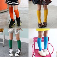 Girls Boys Child Knee High Socks Spring New Pure Color Doubl...