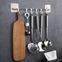 Astrength Sem Paste Traço gancho plástico Six Grupo Livre Hanger chuveiro da cozinha da parede da sala de suspensão Acessórios de Banho Hot Sale 5 8yyb1