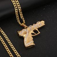 الرجال الهيب هوب قلادة طويلة مجوهرات سلاسل الذهب GUN قلادة الماس قطعة قلادة القلائد بيان النساء الرجال 2PCS