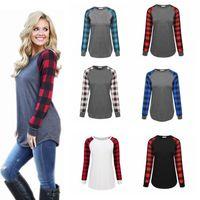 T-shirt Plaid Girl Plus Size Manica lunga Tops Christmas O Neck Shirt Lettera stampata Autunno Tees Cotton Blusso Xmas Elk Blusas Ypp6695